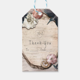 Rustic White Birch Floral & Hummingbird Favor Gift Tags