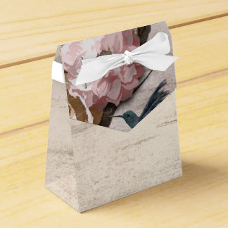 Rustic White Birch Floral & Hummingbird Party Favor Box