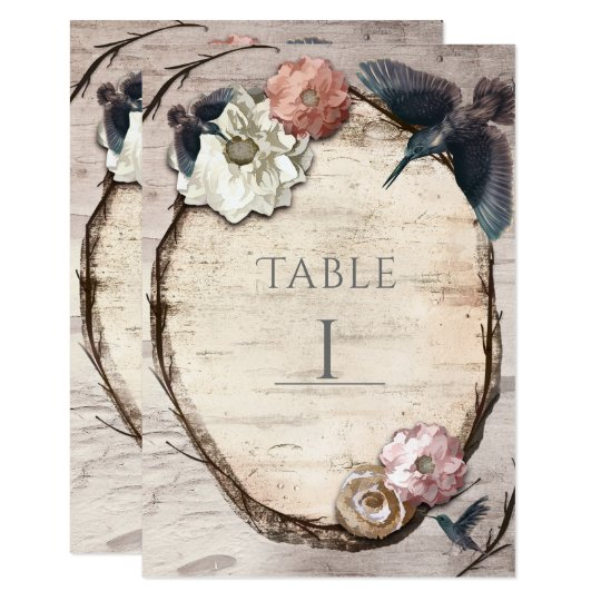 Rustic White Birch & Hummingbird Table Number Card
