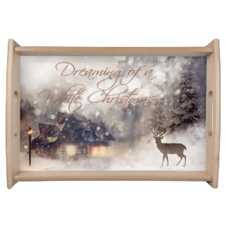 Rustic White Christmas Painted Serving Tray