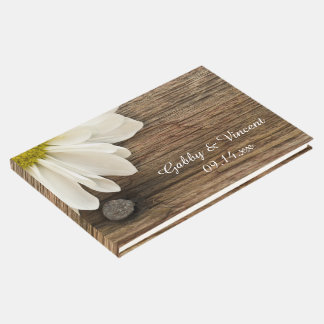 Rustic White Daisy and Barn Wood Country Wedding Guest Book