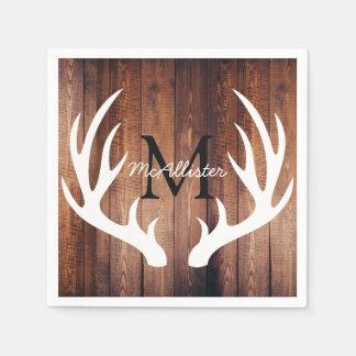 Rustic White Deer Antlers Barn Wood - Personalized Paper Napkins