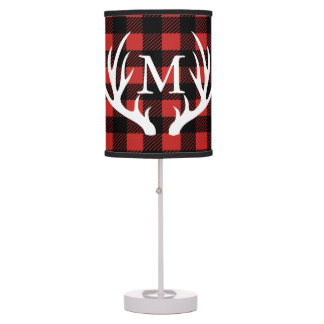 Rustic White Deer Antlers Buffalo Check Plaid Table Lamp