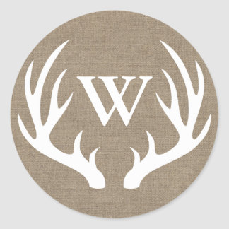 Rustic White Deer Antlers Burlap Initial Letter Classic Round Sticker