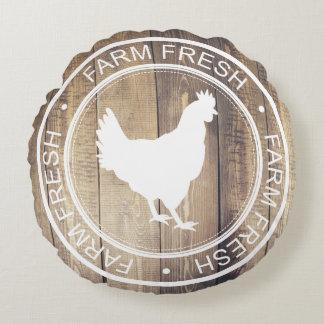 Rustic White Farm Fresh Hen Farmhouse Label Round Pillow