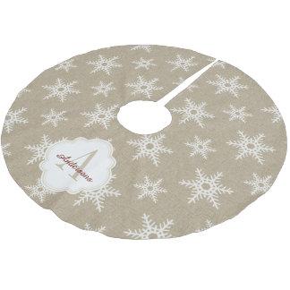 Rustic White Faux Burlap Snowflake Pattern Brushed Polyester Tree Skirt
