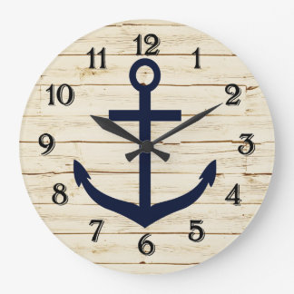 Rustic White Faux Wood with Anchor Clock