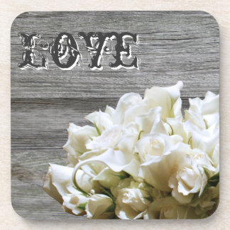 Rustic White Flowers Love Wedding Favor Coasters
