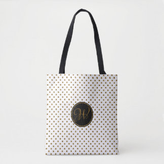 Rustic White Gold Glitter Polka Dots With Monogram Tote Bag