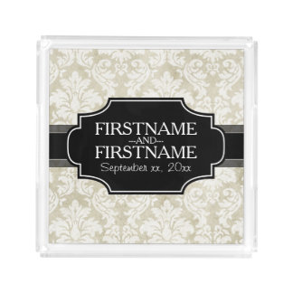 Rustic White Lace and Parchment with black accents Perfume Tray
