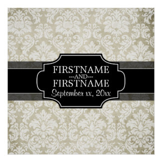 Rustic White Lace and Parchment with black accents Poster