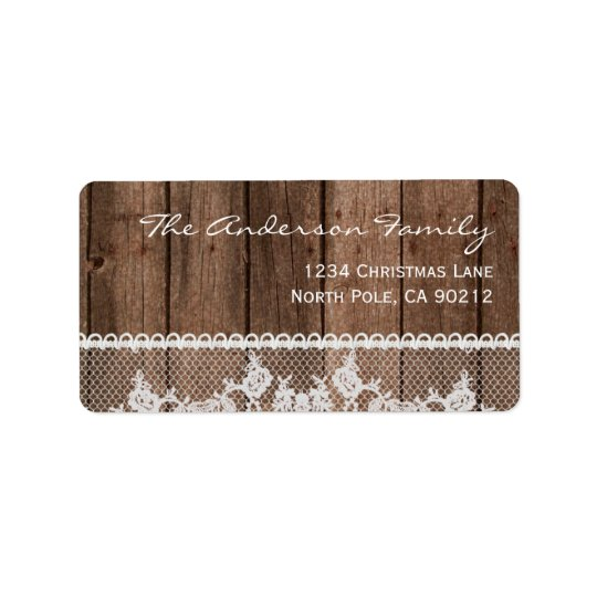 Rustic White Lace and Wood Holiday Labels