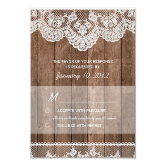 "Rustic White Lace and Wood RSVP 3.5"" X 5"" Invitation Card"