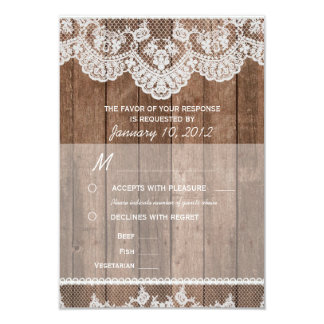 "Rustic White Lace and Wood RSVP with Meal Options 3.5"" X 5"" Invitation Card"