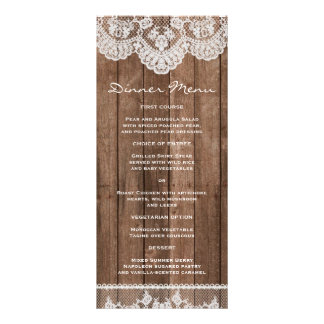 Rustic White Lace and Wood Slim Dinner Menu Customized Rack Card