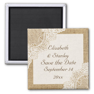 Rustic white lace on burlap wedding Save the Date Square Magnet