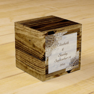 Rustic white lace on wood rustic wedding favor box