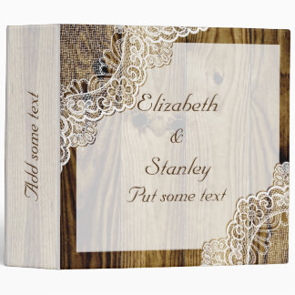 Rustic white lace on wood wedding planner 3 ring binders