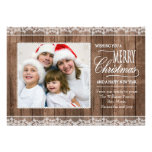 Rustic White Lace & Wood Christmas Flat Photo Card