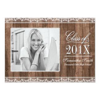 "Rustic White Lace & Wood Photo Graduation 5"" X 7"" Invitation Card"