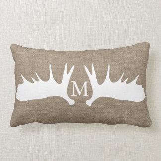 Rustic White Moose Antlers Faux Burlap Monogrammed Lumbar Pillow