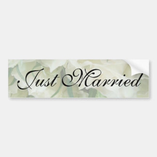 Rustic White Rose Just Married Sticker Bumper Stickers