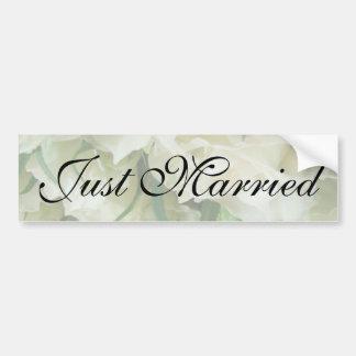 Rustic White Rose Just Married Sticker Bumper Stickers