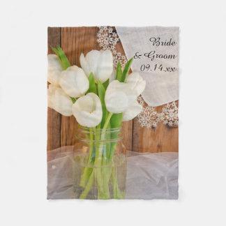 Rustic White Tulips Country Barn Wedding Fleece Blanket
