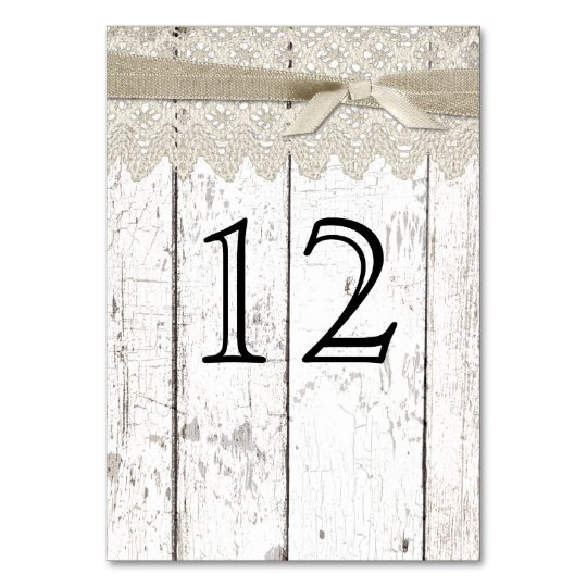 Rustic White Washed Wood and Lace Table Number