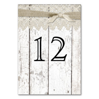 Rustic White Washed Wood and Lace Table Number Table Cards