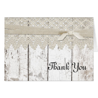 Rustic White Washed Wood and Lace W Thank You Card