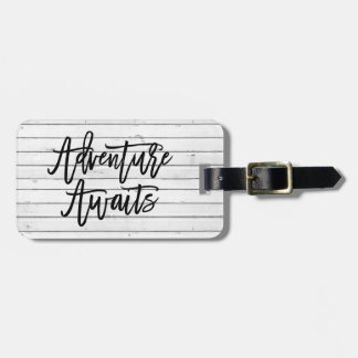 Rustic White Wood Look | Adventure Awaits Luggage Tag