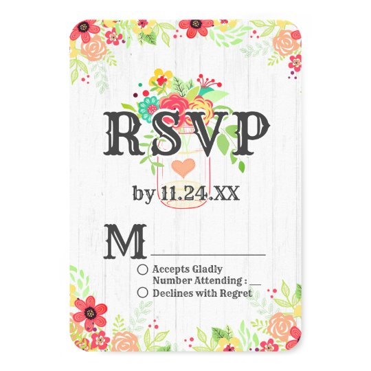 Rustic White Wood & Mason Jar Chic Wedding RSVP Card