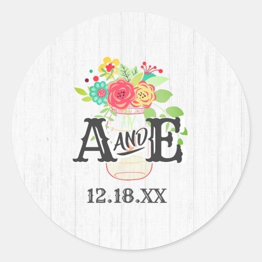 Rustic White Wood & Mason Jar Monogram Wedding Classic Round Sticker