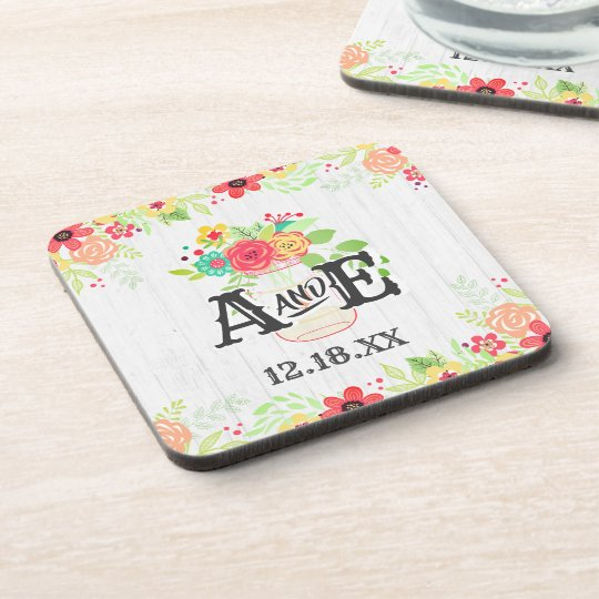Rustic White Wood & Mason Jar Wedding Monogram Coaster
