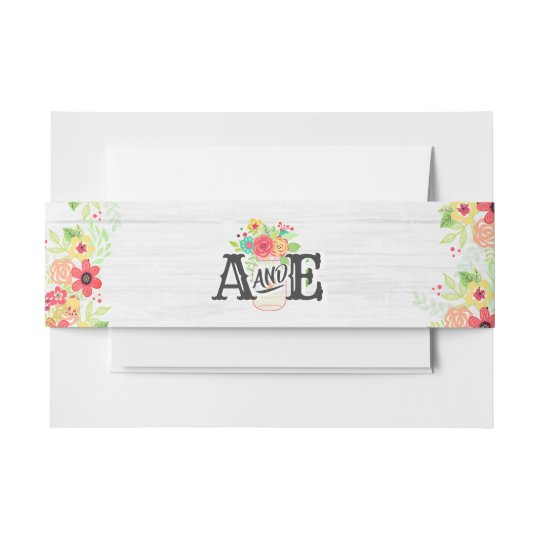 Rustic White Wood & Mason Jar Wedding Monogram Invitation Belly Band