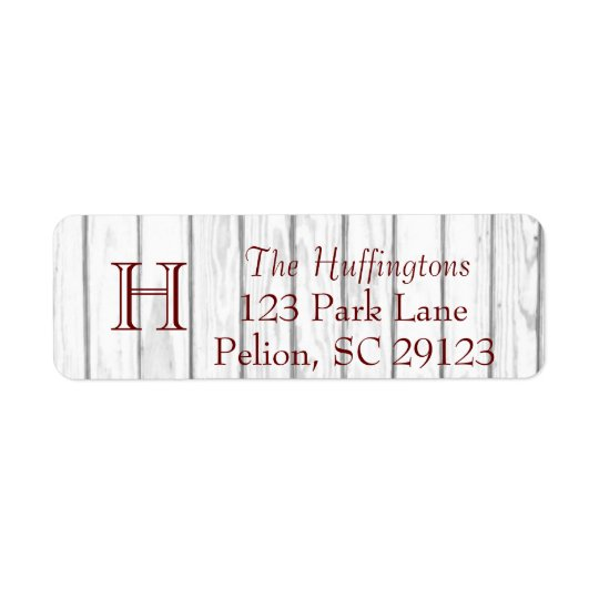 Rustic White Wood Monogram Full address Return Address Label