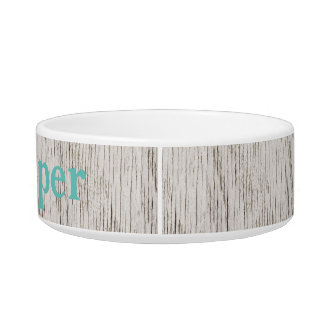 Rustic White Wood Planks Monogrammed Bowl