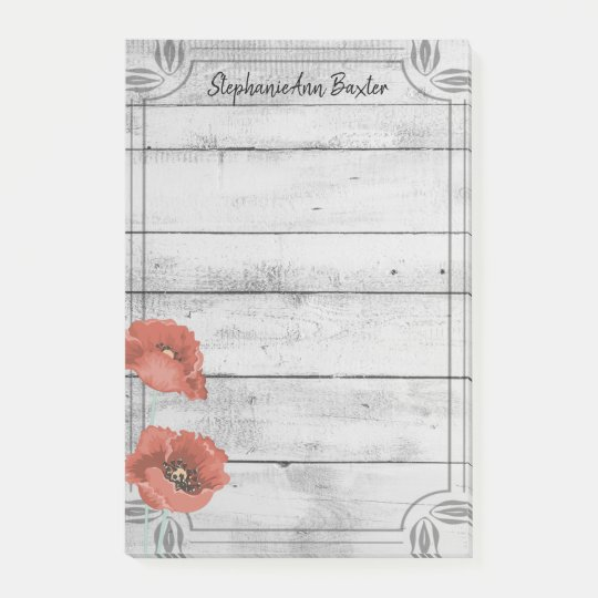 Rustic White Wood Poppy Flowers Notes