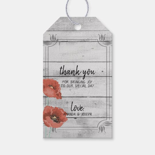Rustic White Wood Poppy Flowers Wedding Gift Tags