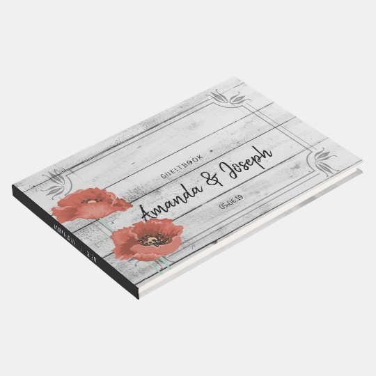 Rustic White Wood Poppy Flowers Wedding Guestbook