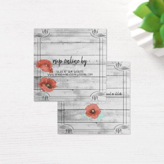 Rustic White Wood Poppy Flowers Wedding RSVP Card