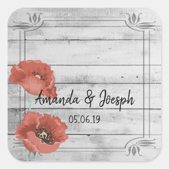 Rustic White Wood Poppy Flowers Wedding Stickers