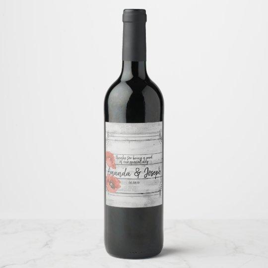 Rustic White Wood Poppy Flowers Wedding Wine Label
