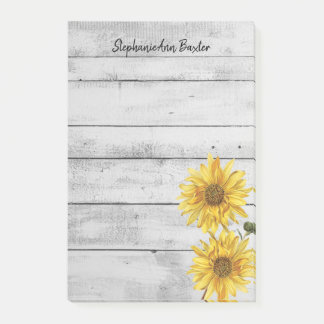 Rustic White Wood Sunflowers Notes