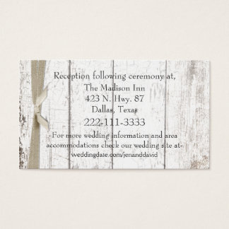Rustic White Wood Wedding Enclosure Card