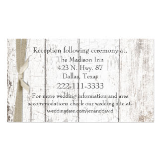 Rustic White Wood Wedding Enclosure Card Business Cards