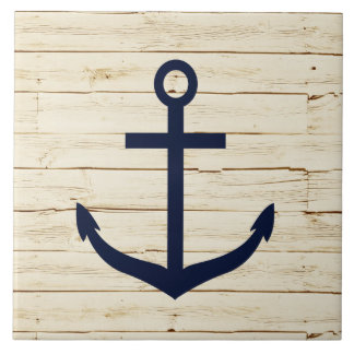 Rustic White Wood with Anchor Ceramic Tile