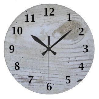 Rustic Whitewashed Board Large Clock