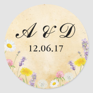 Rustic Wild Flowers Paper Lights Stickers Label